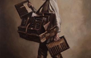 Lauchie Reid 5.972e24 kg, 2014 Oil on birch panel. 11.25 x 15.5 in.