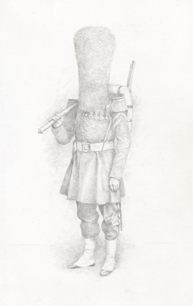 Lauchie Reid Portrait of a Soldier, 2014 Silverpoint on Paper. 6 x 9.5 in.