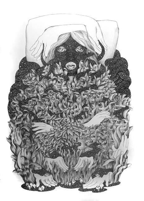 Alexandra Mackenzie Celest, 2014 Pen on illustration board. 20 x 25.5 in. framed.