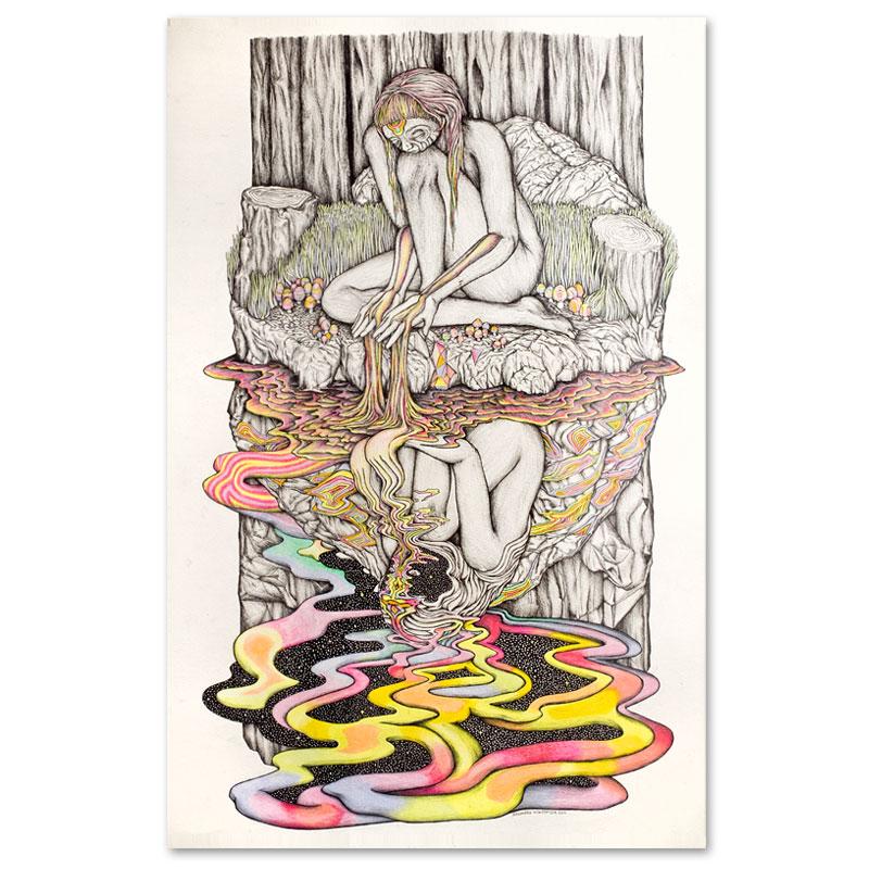 """Alexandra MacKenzieSpirit Syrup, 2011 Pen, pencil crayon on paper.19 x 27"""" unframed 25 x 35"""" framed"""