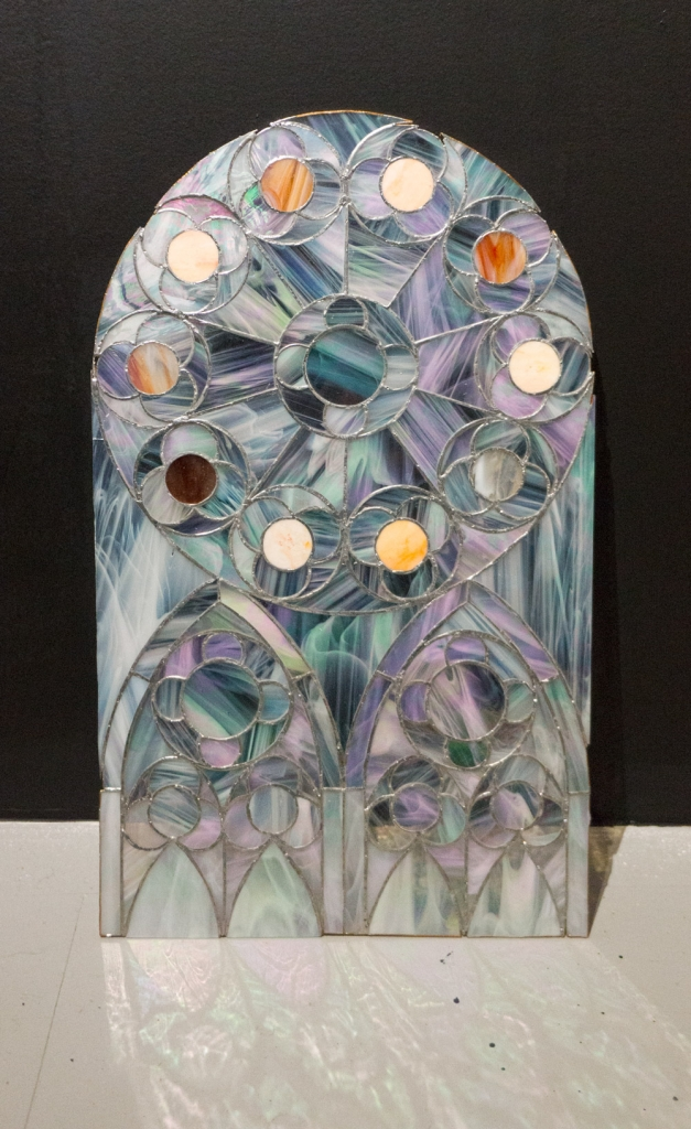 Rebecca Fin Simonetti Elise,  2014Stained Glass. 28 x 14 in.