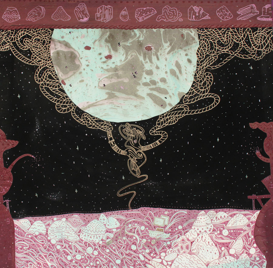 Sab Meynartwading on the edge of your pull,  2014Ink, gouache, and gold pigment on 300lbs hot press fabriano paper15