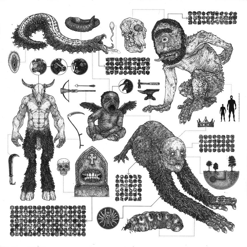 Nicholas DiGenova Descendants of the Great Underworld Diaspora, 2014 Pen and ink on paper, 14 x 14 in.