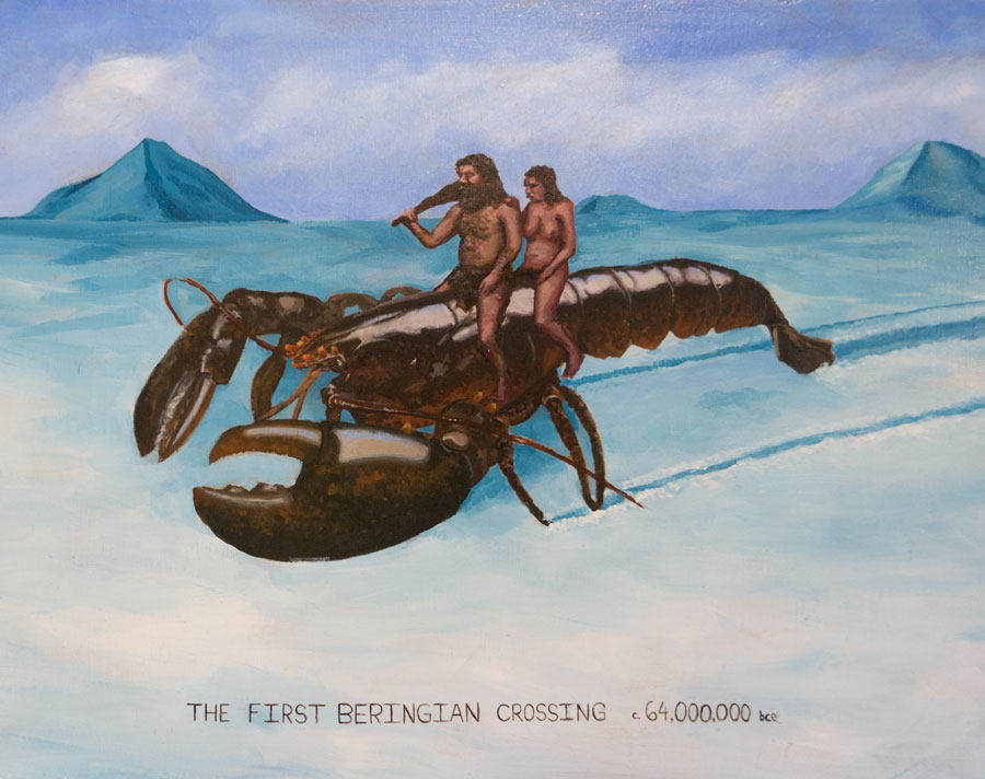 Team Macho Artist's Conception (The Beringian Crossing),  2013 14 x 11 in. Acrylic on wood panel.