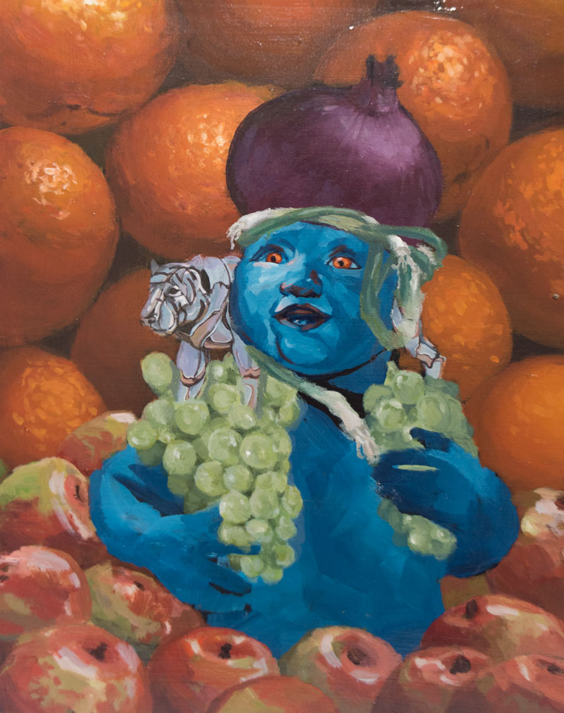 Team Macho Still Life with Apples and Oranges,  2013 8 x 10 in. Alkyd on wood panel.