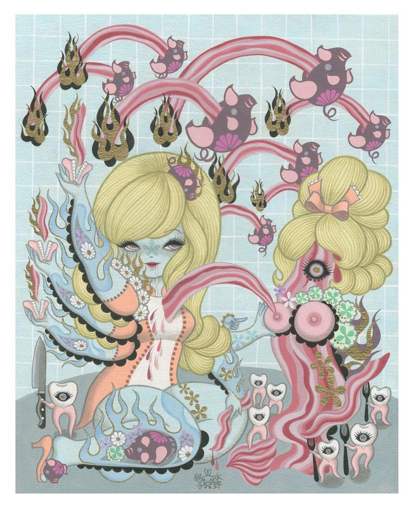 Junko Mizuno Bacon, 2015 Acrylic on canvas 16 x 20  in.