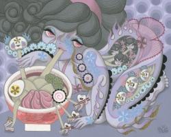 Junko MIzunoNoodles, 2015 Acrylic on Canvas. 16 x 20in.