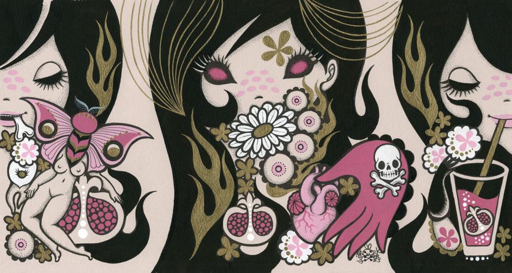 Junko MizunoPomegranate, 2015Acrylic , ink on paper 17 x 14 in.