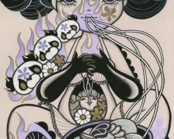 Junko MizunoNoodles, 2015Acrylic, ink on paper 14 x 17 in.