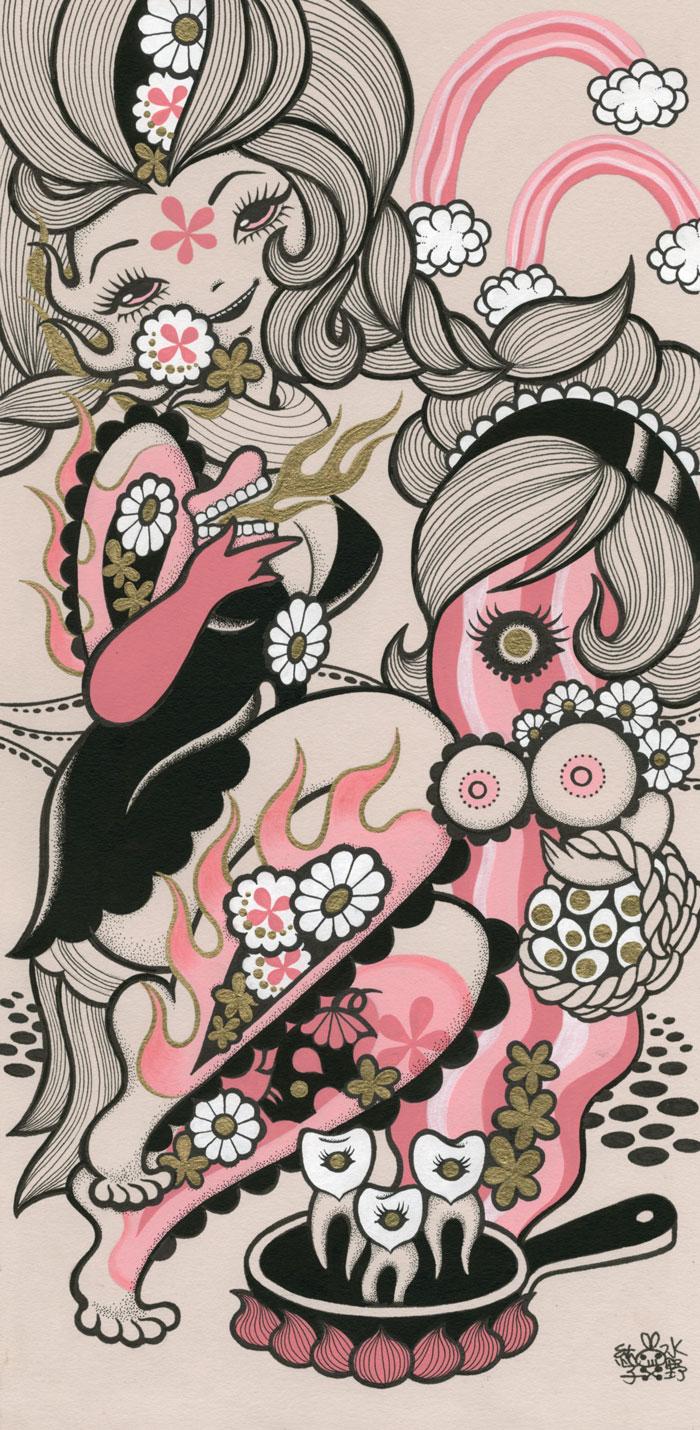 Junko MizunoBacon, 2015Acrylic, ink on paper 14 x 17 in.