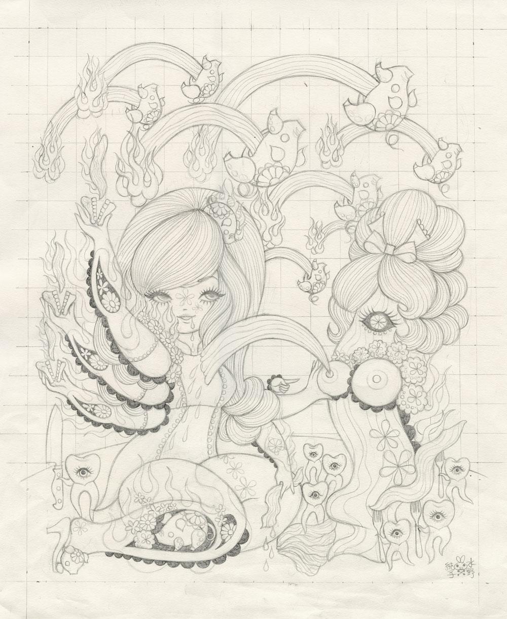Junko MizunoBacon, 2015Graphite on paper. 14 x 17 in.