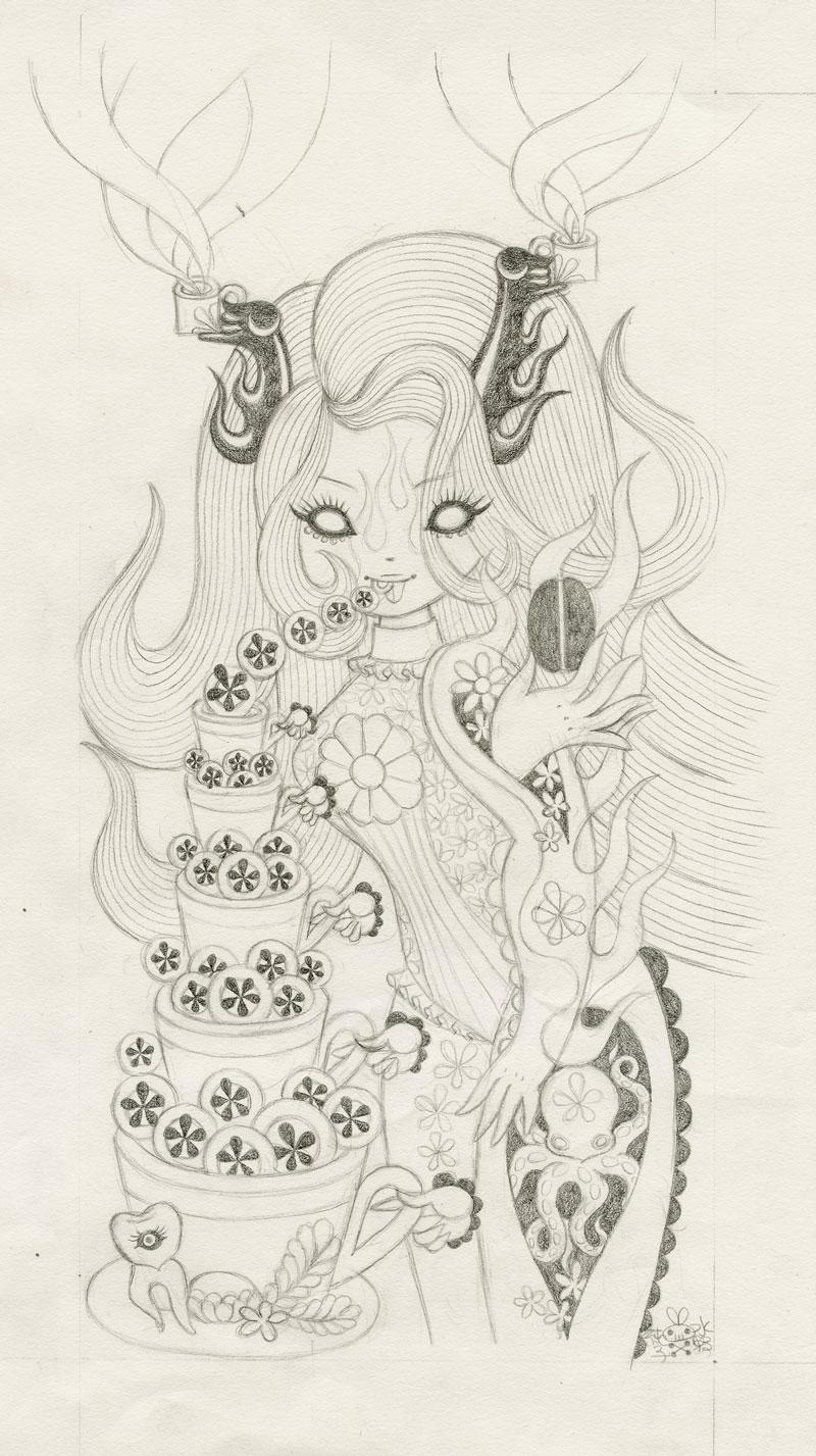 Junko MizunoCoffee II, 2015Graphite on  paper 9 x 16 in.