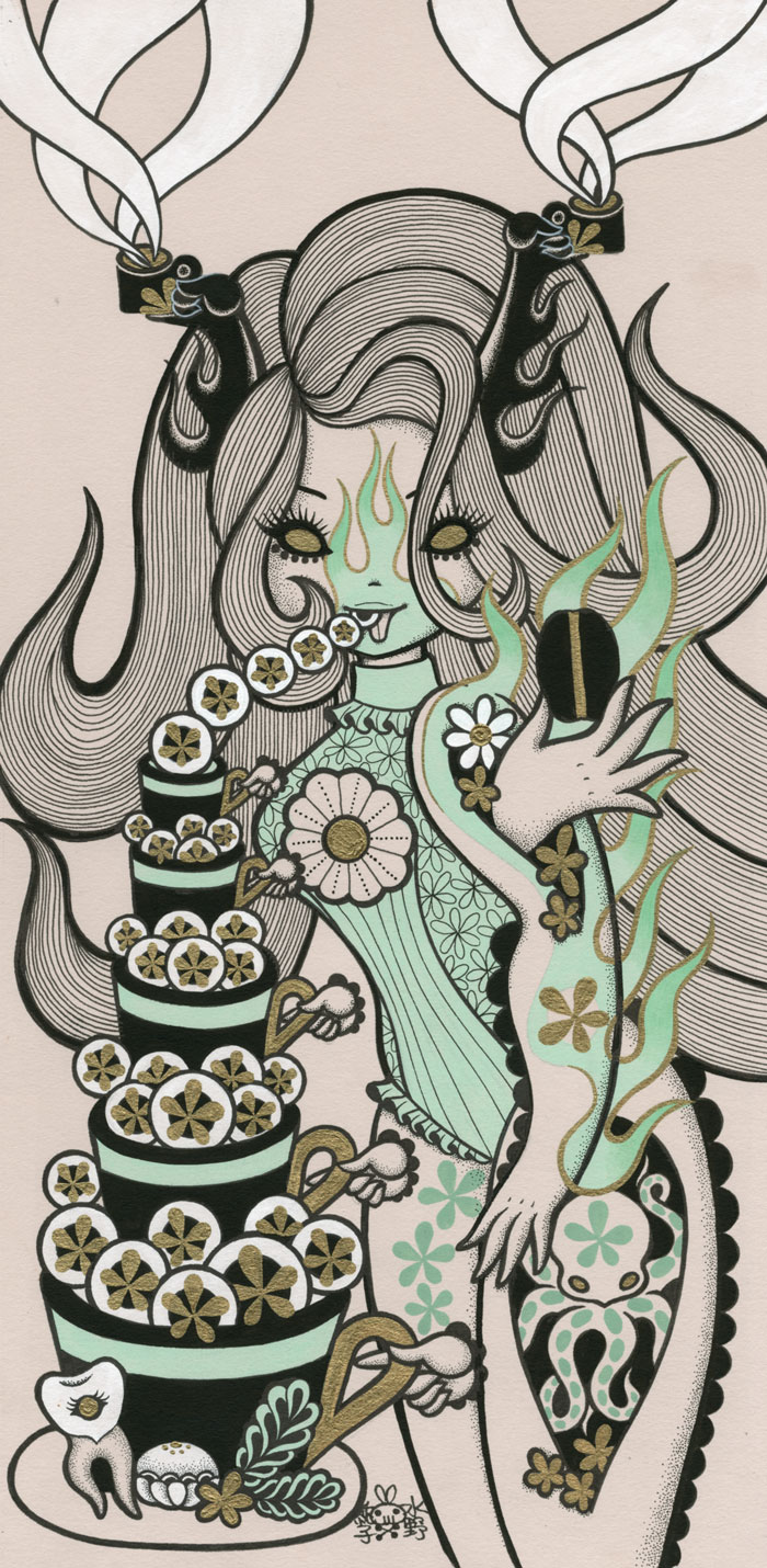 Junko MizunoCoffee, 2015Acrylic, ink on paper 14 x 17 in.