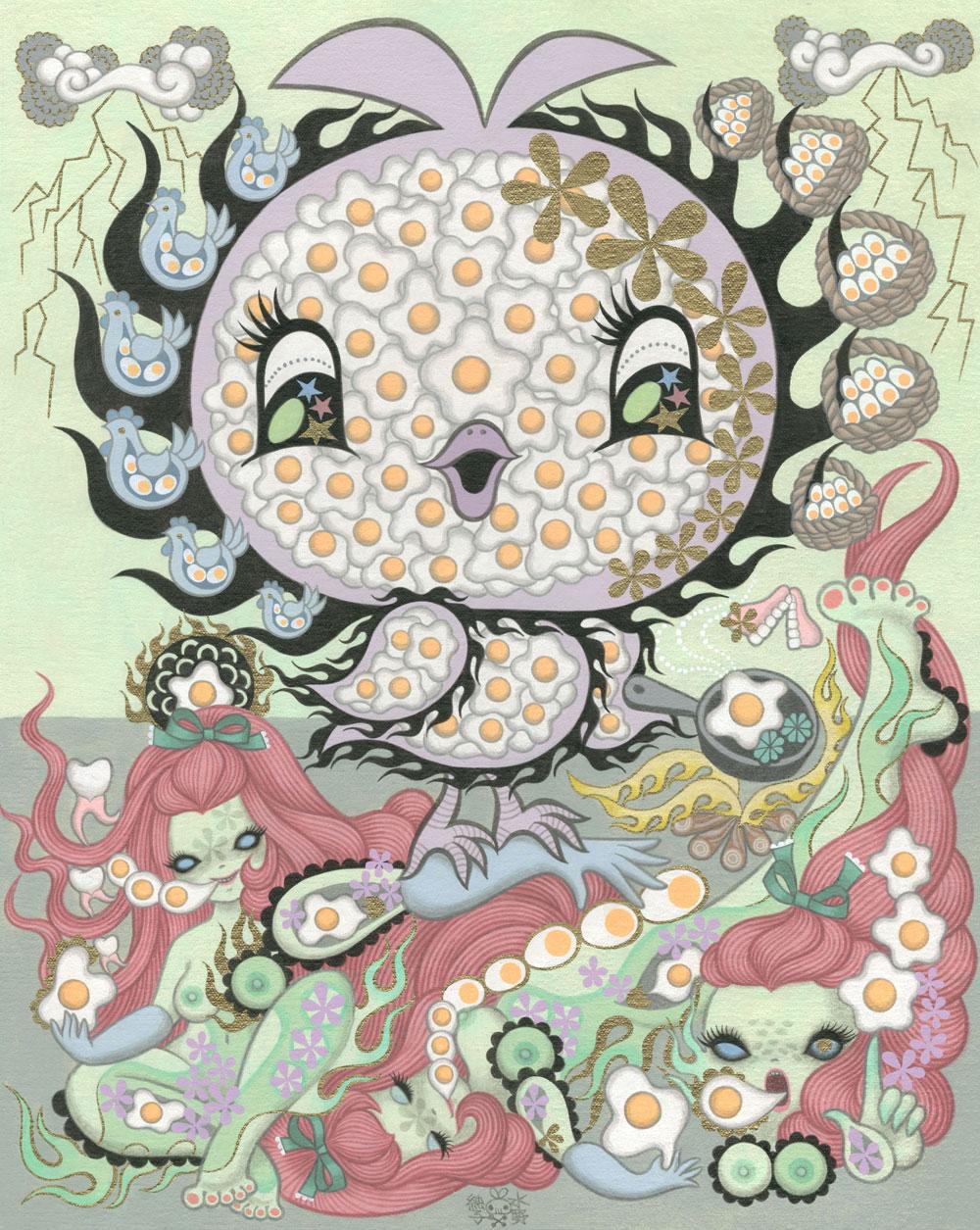 Junko MizunoEggs, 2015Acrylic on canvas 16 x 20 in.