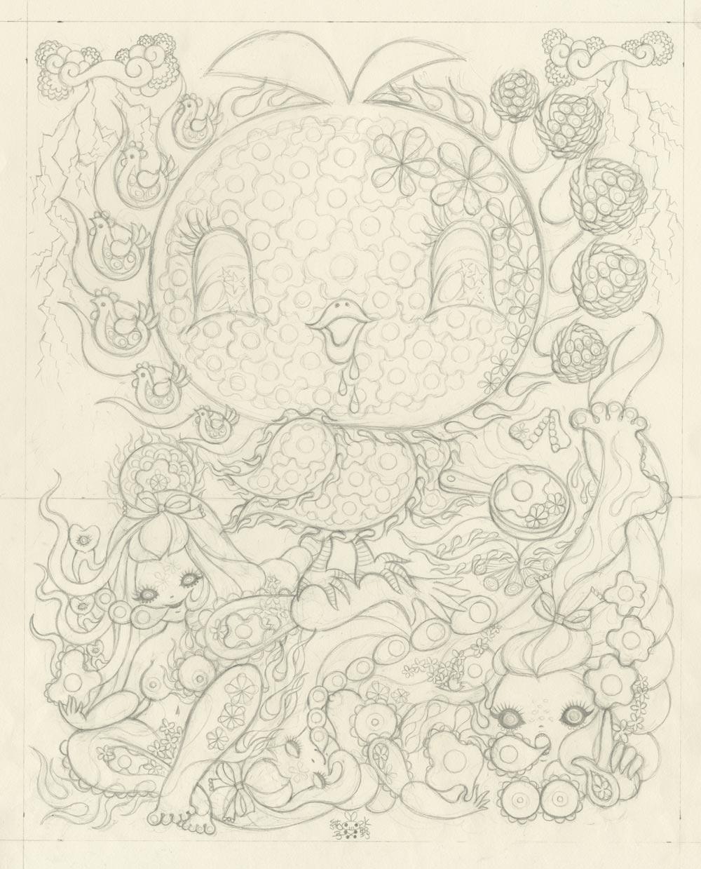 Junko MizunoEggs, 2015Graphite on paper. 14 x 17 in.