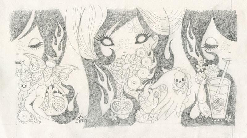 Junko MizunoPomegranate II, 2015Graphite on paper 16 x 9 in.