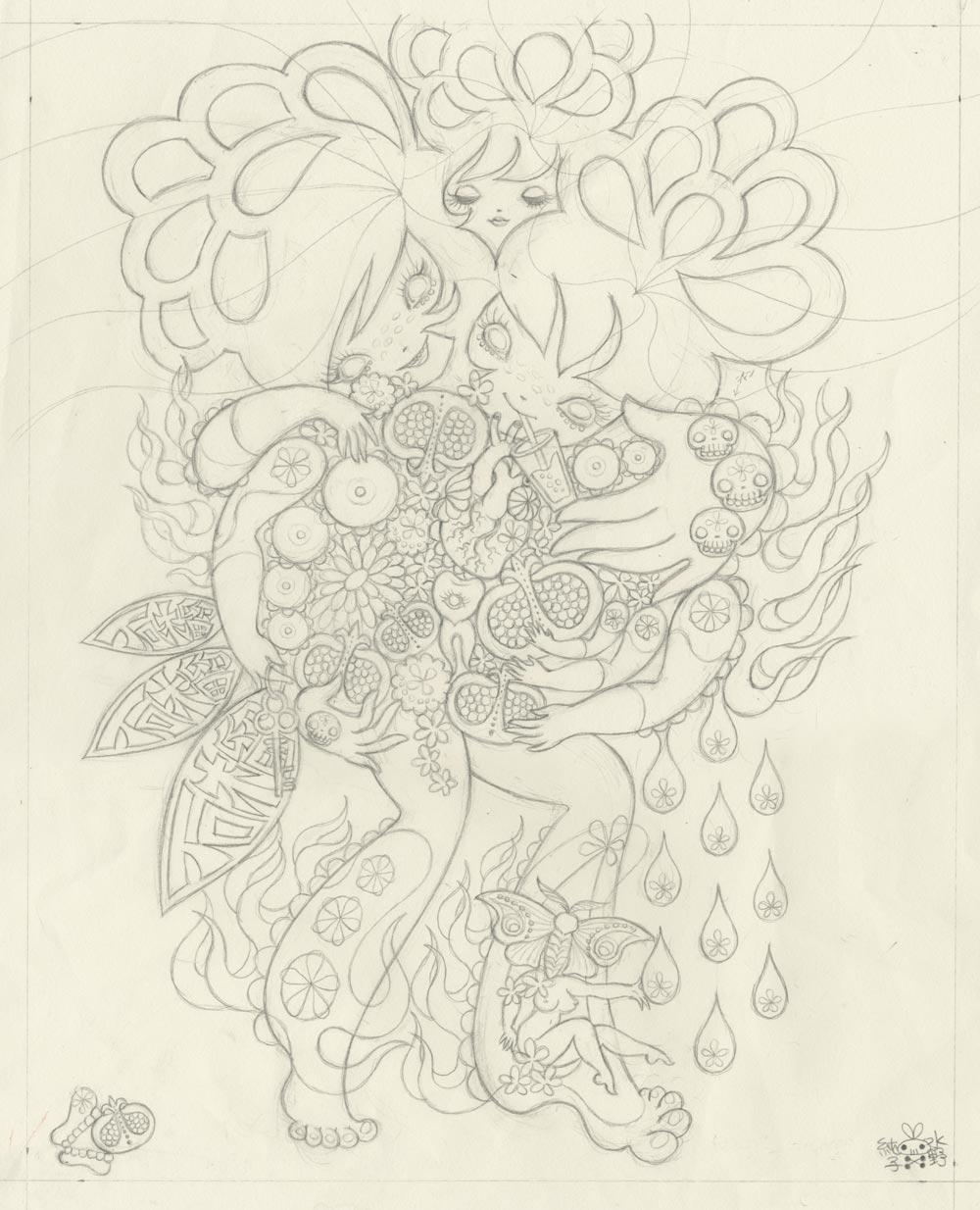 Junko MizunoPomegranate, 2015Graphite on paper. 14 x 17 in.