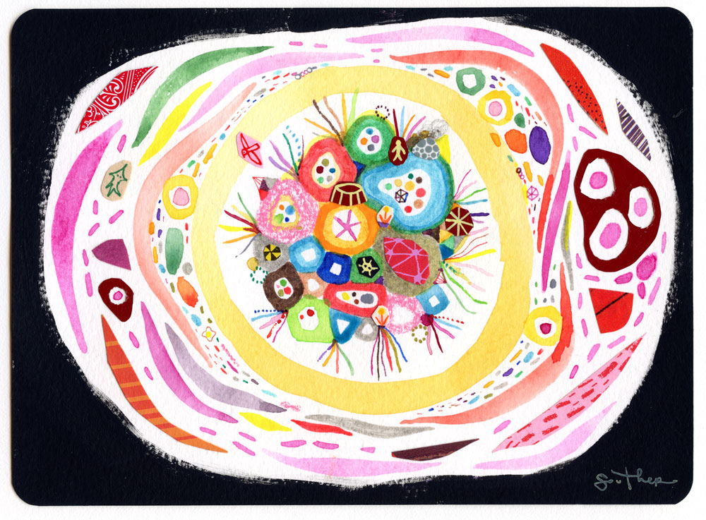 Souther Salazar Compact Odyssey, 20158 x 5 in. Watercolor, ink, and collage on paper.