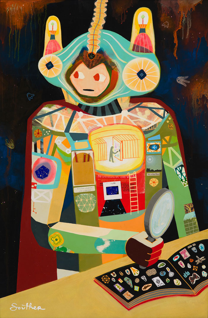 Souther Salazar Edge of Remembering, 201525.5 x 37.5 in. Mixed media on wood panel.