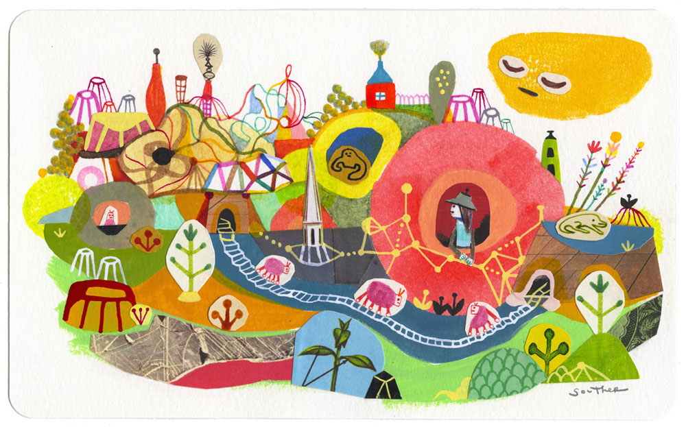 Souther Salazar Safe Passage, 20158 x 5 in. Watercolor, ink, and collage on paper.