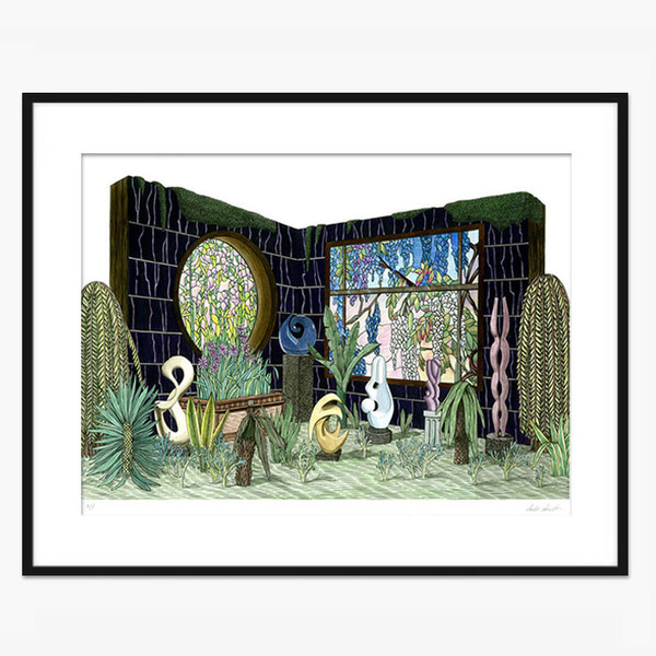 Luke Painter Modern Art Sculpture Garden with Tiffany Stained Glass windows, 2015 22 x17 In. Ink on paper.S/N Edition of 60. 2015
