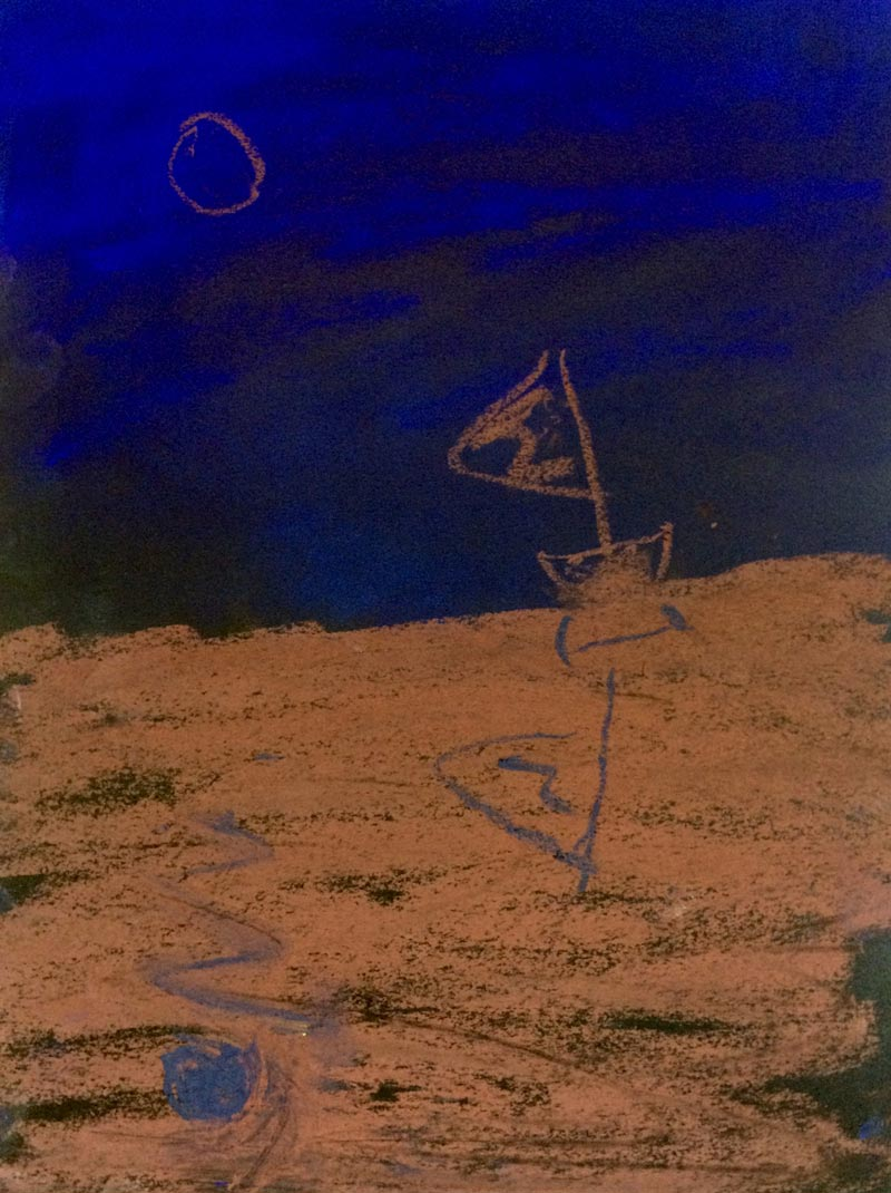 Josh ThorpeBlue and Red Sea, 20159 x 12 in. unframed, 13.5 x 16 in. framed. Soft pastel on paper.