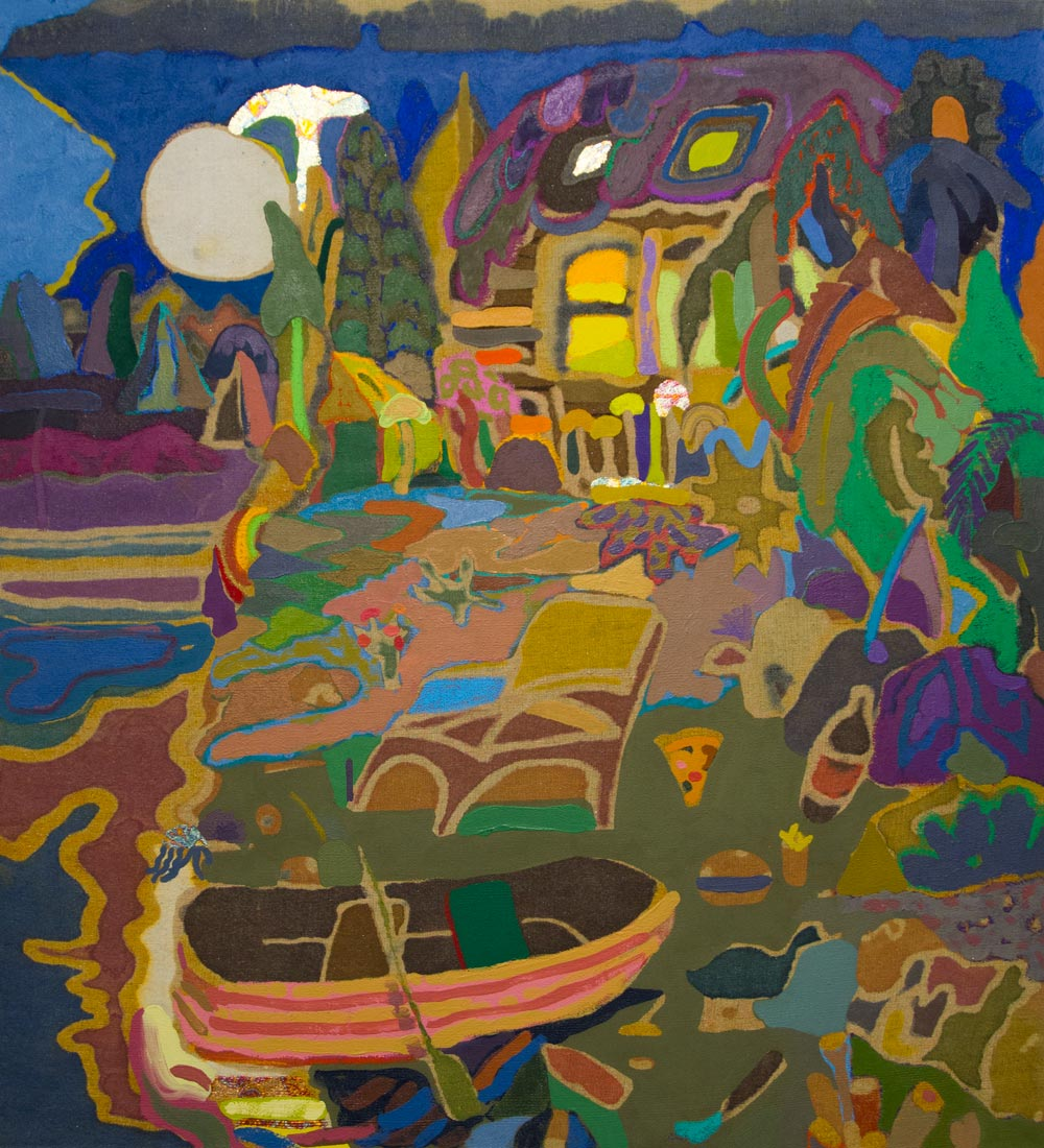 Leon BennMoon Over Camp, 201536 x 39 in. Oil, oil pastel, dyes, bleach, faux-batik, and rabbit skin glue on hand-woven Moroccan fabric.