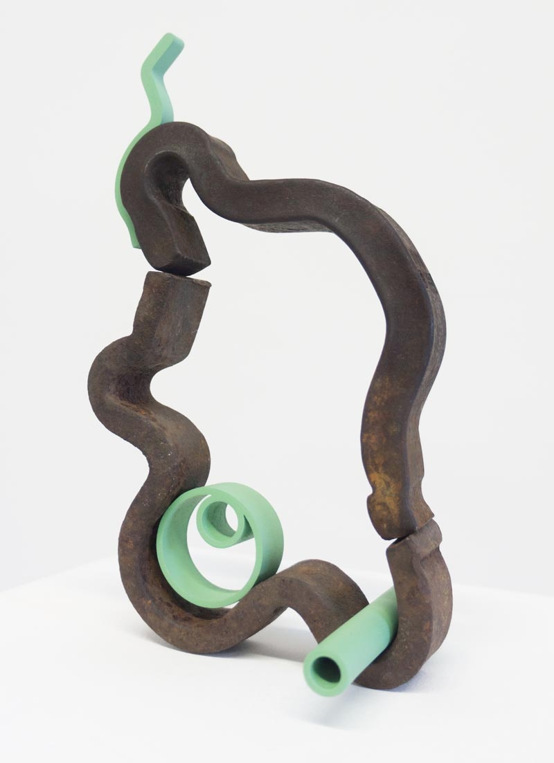 Jacob Whibleyétat d'attente (abri), 2015Found metal, 3d printed wood, acrylic paint. 9 x 6 x 5 in.