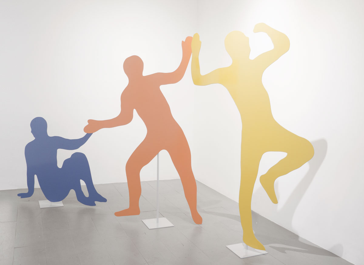 Jacob Whibleyall we ever needed was each other (instinctively playing the leads), 2015Powder coated steel. Blue: 41 x 37 x 0.25 in., Orange: 40 x 70 x 0.25 in., Yellow: 33 x 72 x 0.25 in.