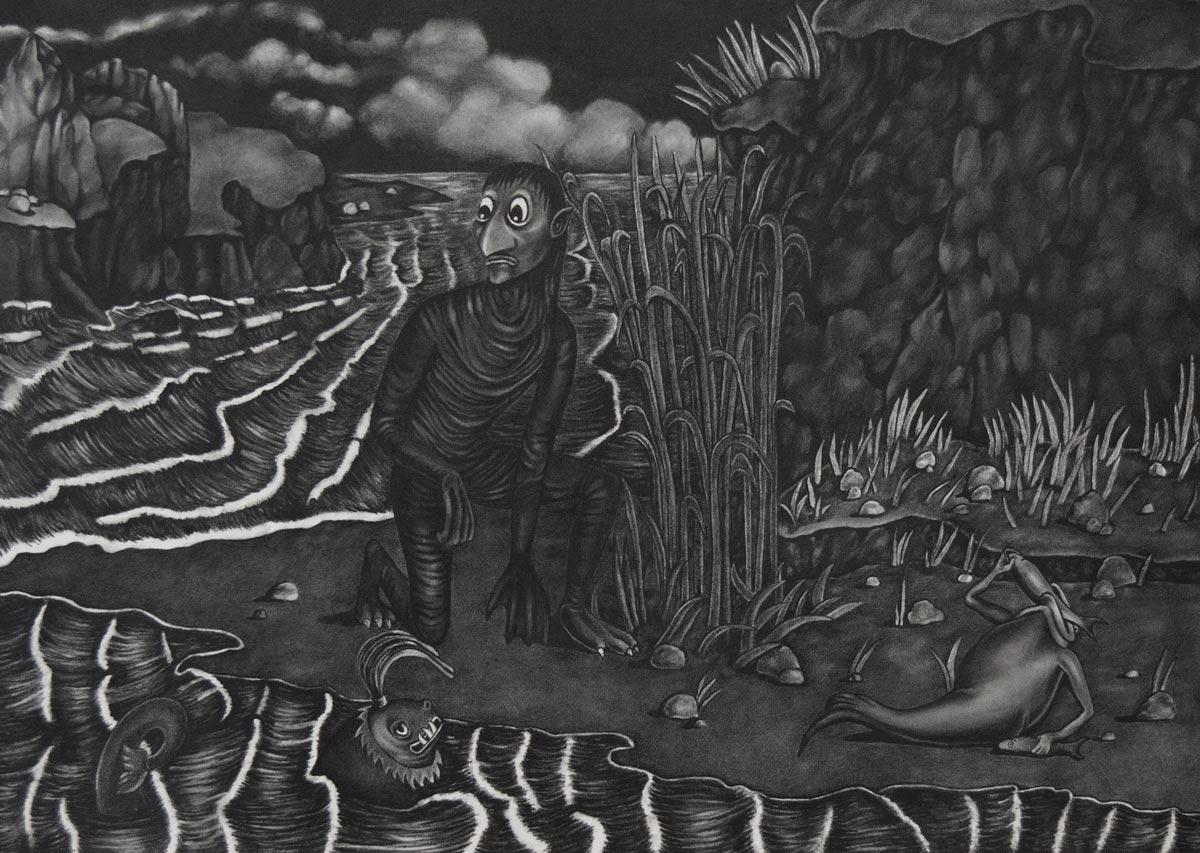 Adrienne KammererA Wistfull Amphibian, 2015Graphite on paper. 11.25 x 8 in. unframed, 18.5 x 15.5 in. framed