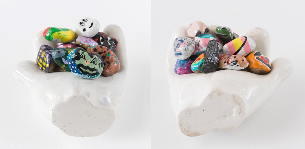Ryan Travis ChristianGarden Hits, Volume 2, 2014Enamel on plaster and rocks 7 wide x 7 deep x 3 in. high, each.