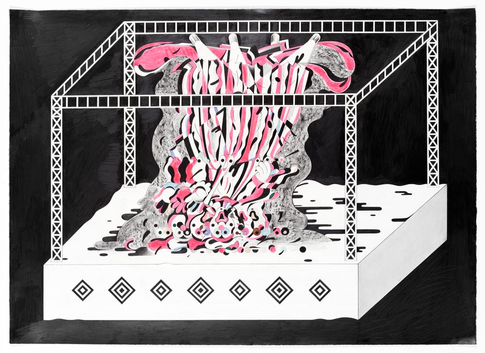 Ryan Travis ChristianTurn That Clown Upside Down,2014 Graphite and ink on paper 30 x 41 inches, 34 ¾ x 46 framed