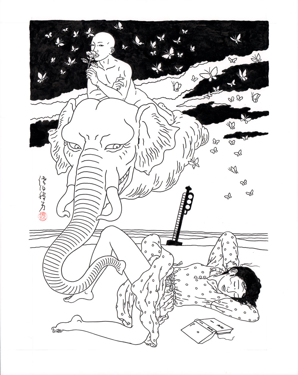 Toshio SaekiMadoromi, 2015Ink on paper.15 x 19.5 in. unframed